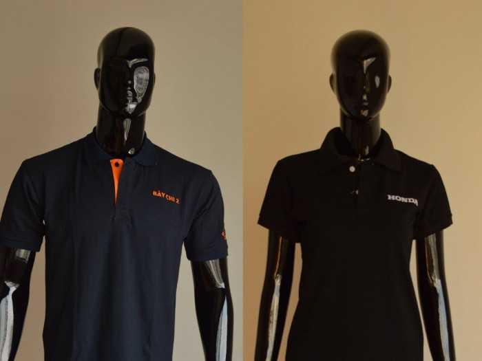 Mẫu áo thun đồng phục tay lững màu đen