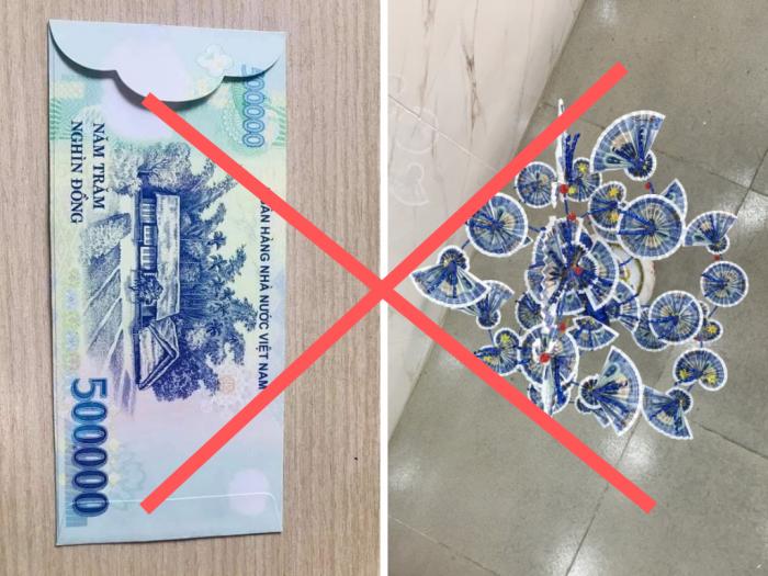Thông báo không duyệt đăng sản phẩm bao lì xì hình ảnh đồng tiền Việt Nam, cây tiền tài lộc sử dụng tiền Việt Nam