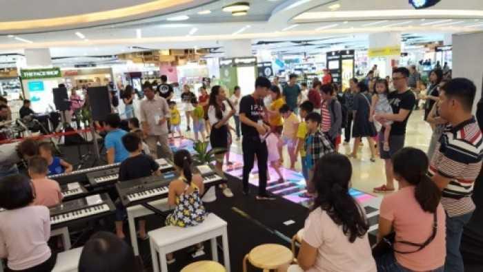 Cho thuê màn hình Led sàn cảm ứng bàn phím đàn sự kiện Yamaha Music tại Vạn Hạnh Mall