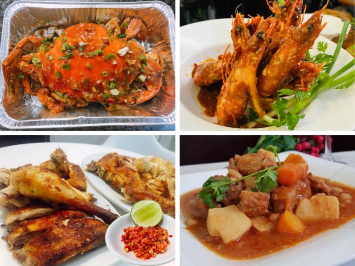 Bộ tứ: Cua sốt ớt Singapore - tôm sú sốt Singapore - gà nướng muối ớt - lagu sườn non tại Ẩm thực MKnow