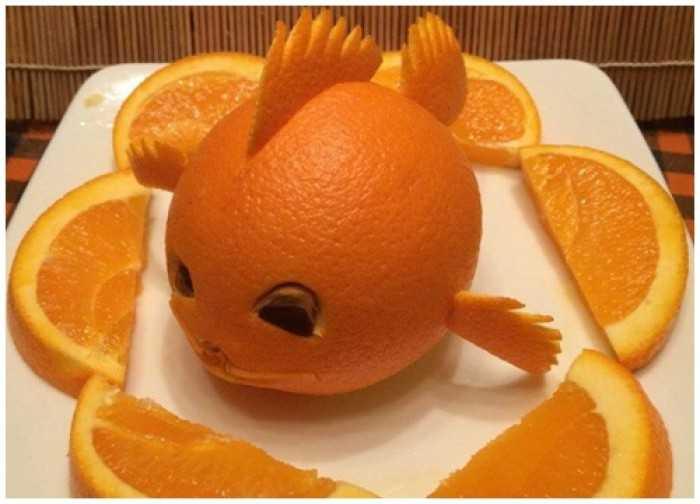 Tạo hình cá vàng dễ thương từ Cam vàng