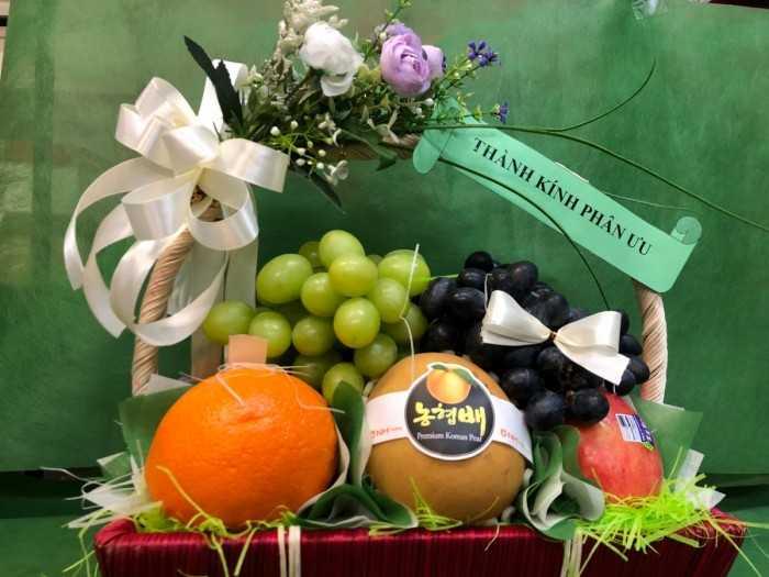 Kinh nghiệm mua giỏ trái cây viếng đám tang - nên ghi gì, màu sắc trang trí, giá khoảng bao nhiêu?