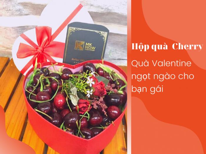 Hộp quà trái cây Cherry hình trái tim - Quà Valentine ngọt ngào cho bạn gái