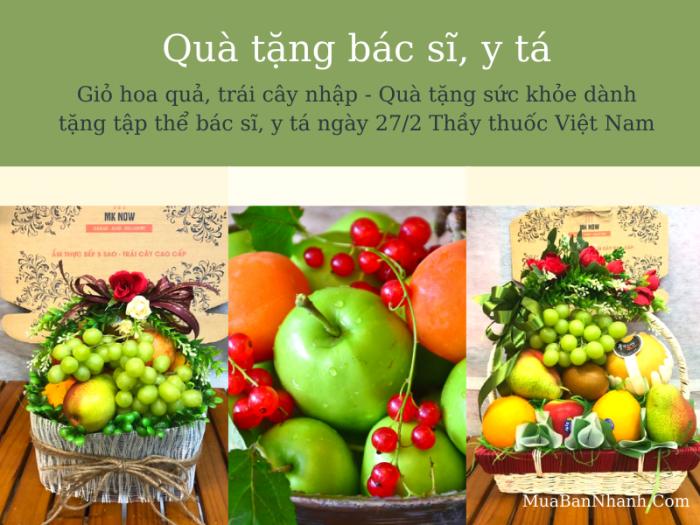 Giỏ hoa quả, trái cây nhập - Quà tặng sức khỏe dành tặng tập thể bác sĩ, y tá ngày 27/2 Thầy thuốc Việt Nam