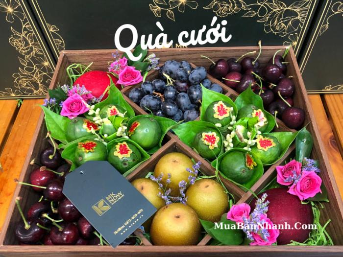 Hộp quà biếu dạm ngõ, trái cây & trầu cau, hoa tươi - Hộp gỗ nắp kiếng thuận tiện mang lên máy bay từ TPHCM