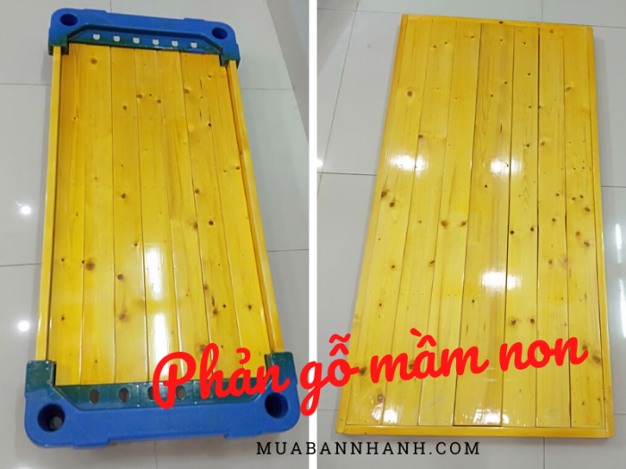 Phản nằm cho trẻ mầm non - Phản ngủ gỗ thông loại không và có góc nhựa giá xưởng Đà Nẵng