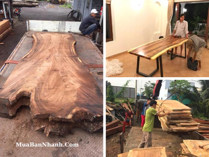 Xưởng mặt bàn ăn, bàn bếp, bàn học nguyên tấm mặt gỗ chân sắt TPHCM