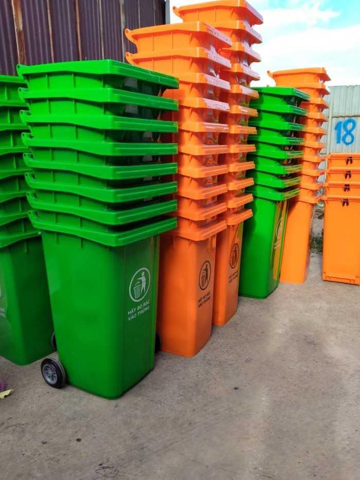 Thùng rác công cộng 120 lít, 240 lít, 660 lít có bánh xe, nắp kín loại lớn ngoài trời