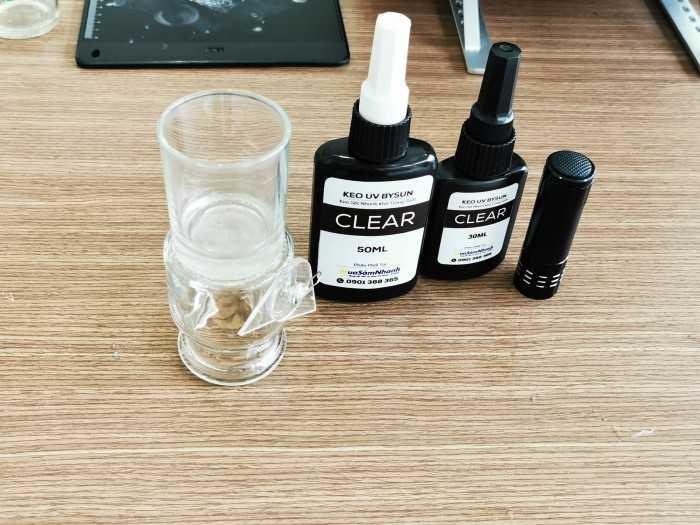 Keo dán kính trong suốt UV cho sửa chữa mặt kính vỡ, bể cá nứt, thủy tinh pha lê