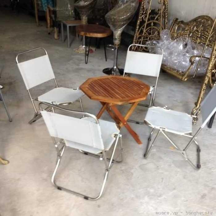 Mẫu bàn ghế xếp lưới lưng cao màu trắng