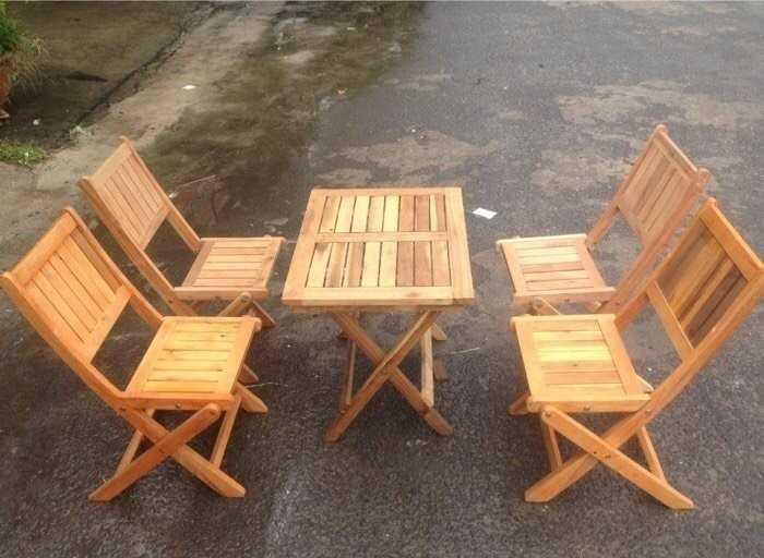Mẫu bàn ghế gỗ gấp gọn cho quán cafe vỉa hè