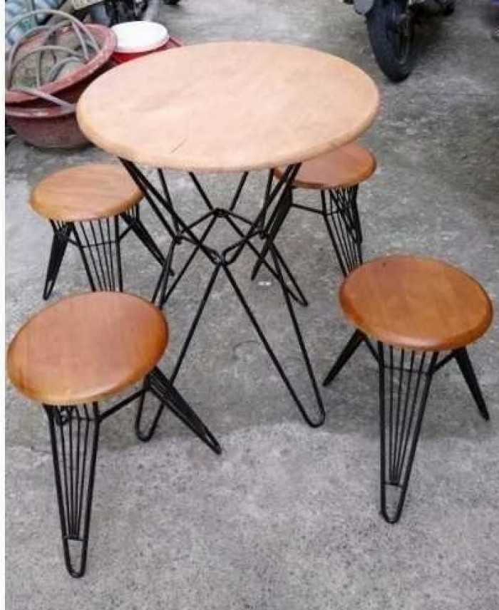 Bộ bàn ghế cóc chân sắt tròn cho quán cafe vỉa hè