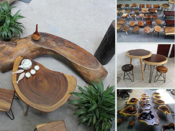 Nhà sản xuất mặt bàn gỗ tự nhiên nguyên khối giá sỉ cho thương hiệu cafe chuỗi, nhượng quyền, rang xay