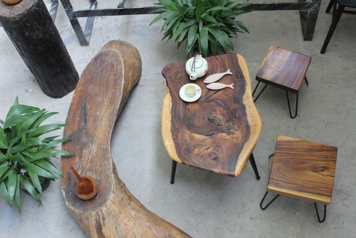 Mẫu bàn trà gỗ nguyên khối đẹp