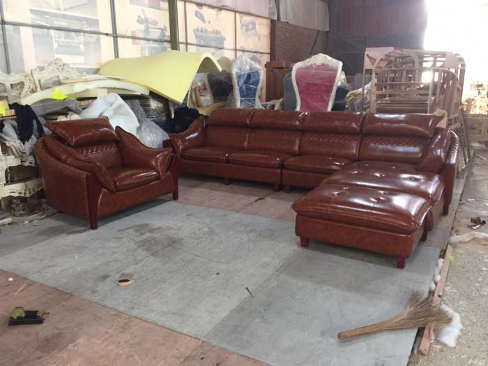 Sofa da cho phòng khách nhỏ, sofa da HCM