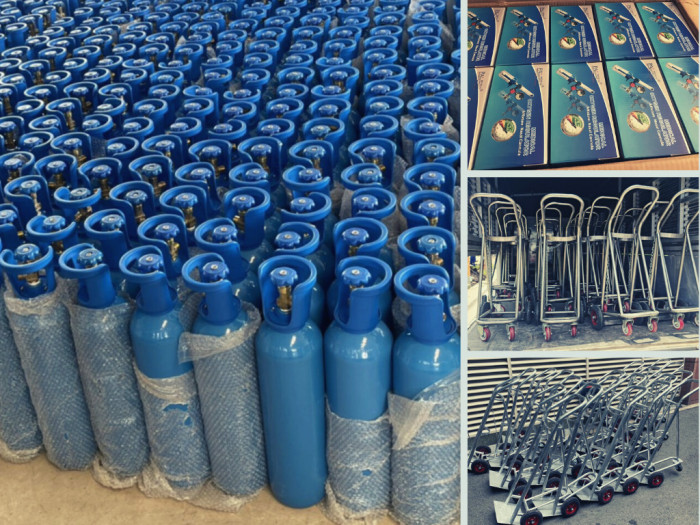 Đặt mua bình oxy y tế ở TPHCM - Dung tích 10 lít (2m3 khí oxy), 40 lít (6m3 khí oxy) - Có xe đẩy bình khí, vỏ bình, đồng hồ, dây thở