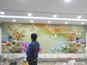 Tổng kho tranh gạch men 3D, 5D dán tường đẹp trang trí phòng khách, cửa hàng tại Hà Nội