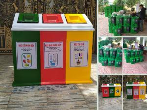 Giá thùng rác 3 ngăn 3 màu 180 lít - 2 ngăn 2 màu 40 lit composite đạp chân cho gia đình, trường học, cơ quan, y tế phân loại rác thải