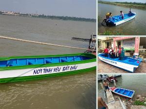 Xưởng làm thuyền nhựa composite giá rẻ cho gắn máy, chèo tay đi biển, đi cứu trợ, cứu hộ, tặng quà thiện nguyện