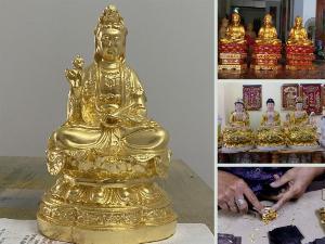 Địa chỉ nhận dát vàng tượng Phật Quan Âm - thếp vàng tượng Phật đồng, gỗ mọi kích cỡ tại TPHCM